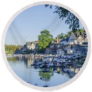 Boathouse Row In September Round Beach Towel
