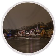Boathouse Row In The Evening Round Beach Towel