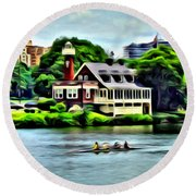 Boathouse Rowers On The Row Round Beach Towel
