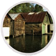Boathouses On The River Round Beach Towel