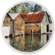 Boathouses On The Torch River Ll Round Beach Towel