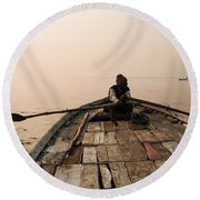 Boating At Sangam Round Beach Towel
