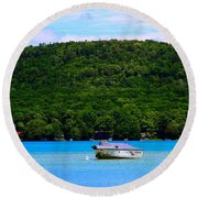 Boating At Sleeping Bear Dunes Lake Michigan Round Beach Towel