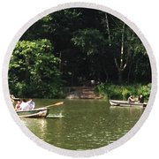 Boating In Central Park Round Beach Towel