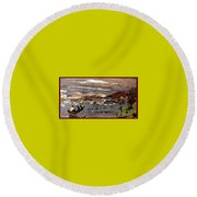 Boating In River Round Beach Towel