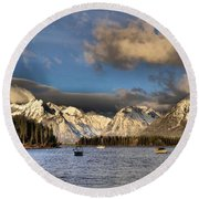 Boating In The Tetons Round Beach Towel by Dan Sproul