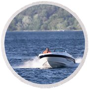 Boating On Grand Traverse Bay Round Beach Towel