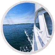 Boating On Lake Round Beach Towel