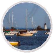 Boating On Long Island Sound Round Beach Towel by Joann Vitali