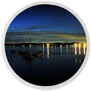 Boating - The Marina At Night Round Beach Towel