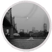 Boating Under The Bridge Round Beach Towel