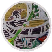 Boatman On The River  Round Beach Towel