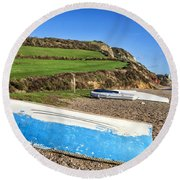Boats Along Branscombe Beach Round Beach Towel