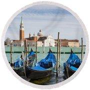 Boats Anchored At Marina Venice, Italy Round Beach Towel