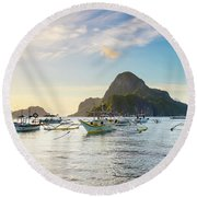 Boats Anchored In Bacuit Bay And Cadlao Round Beach Towel