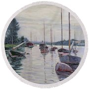 Boats Anchored On The Seine Round Beach Towel by Gustave Caillebotte