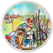 Boats And Boardwalks By Brittany 02 Round Beach Towel