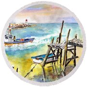 Boats And Boardwalks By Brittany 01 Round Beach Towel