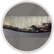 Boats And Bubbles 2 Round Beach Towel