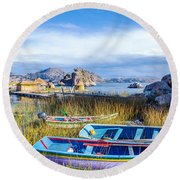 Boats And Floating Islands Round Beach Towel