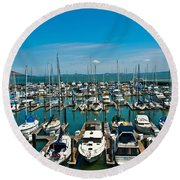 Boats At Bay Round Beach Towel