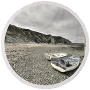 Boats At Bude  Round Beach Towel