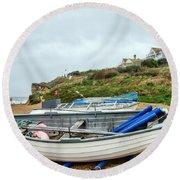 Boats At Burton Bradstock Round Beach Towel
