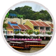 Boats At Clarke Quay Singapore River Round Beach Towel