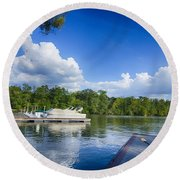 Boats At Dock On A Lake With Blue Sky Round Beach Towel