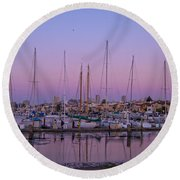Boats At Dusk 2 Round Beach Towel