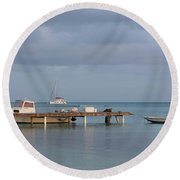 Boats At Rest Round Beach Towel by Eric Glaser