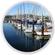 Boats At Rest. Sausalito. California. Round Beach Towel