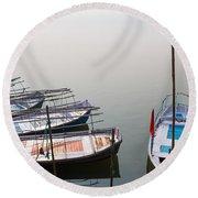 Boats At Sangam Round Beach Towel