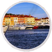 Boats At St.tropez Harbor Round Beach Towel