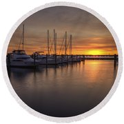Boats At Sunset Round Beach Towel