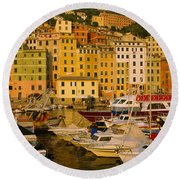 Boats At The Harbor, Camogli, Liguria Round Beach Towel