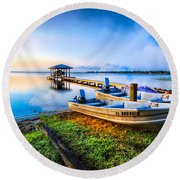 Boats At The Lake Round Beach Towel