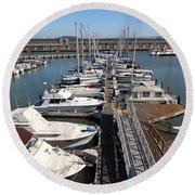 Boats At The San Francisco Pier 39 Docks 5d26005 Round Beach Towel