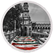 Boats By The Plaza De Espana Seville Round Beach Towel by Mary Machare