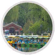 Boats In A Park, Beijing Round Beach Towel