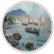 Boats In A Rocky Cove  Round Beach Towel