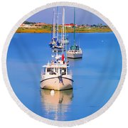 Boats In A Row Round Beach Towel