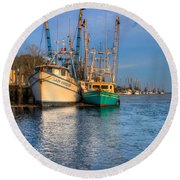 Boats In Blue Round Beach Towel