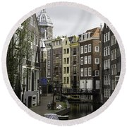 Boats In Canal Amsterdam Round Beach Towel