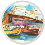 Boats In Ericeira In Portugal Round Beach Towel by Miki De Goodaboom
