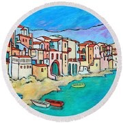 Boats In Front Of Buildings Viii Round Beach Towel by Xueling Zou