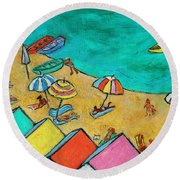 Boats In Front Of The Buildings Ix Round Beach Towel