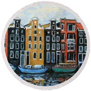 Boats In Front Of The Buildings Vi Round Beach Towel