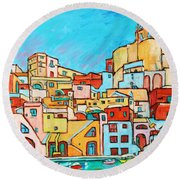 Boats In Front Of The Buildings Vii Round Beach Towel