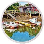 Boats In Halls Harbour-nova Scotia  Round Beach Towel